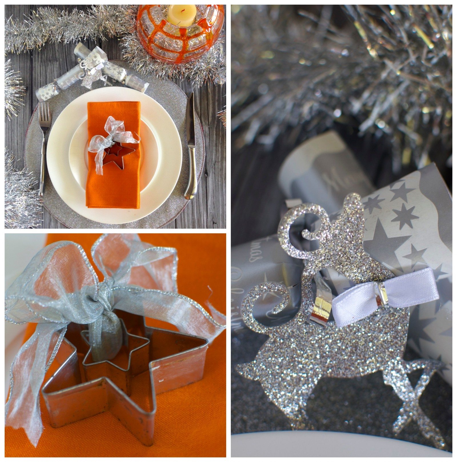 Orange and silver Christmas table via www.clairekcreations.com