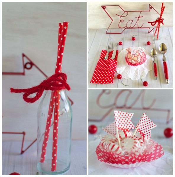 Red and white Christmas table via www.clairekcreations.com