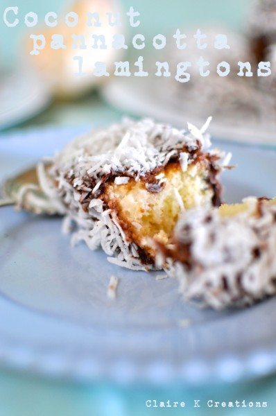 Coconut panna cotta lamingtons