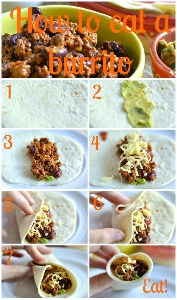 How to eat a burrito via Claire K Creations www.clairekcreations.com