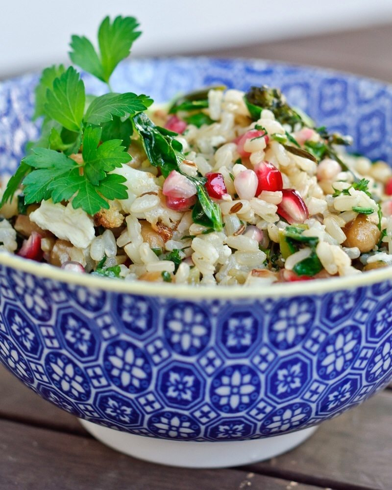 Winter brown rice salad