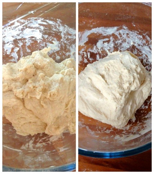 Before and after kneading