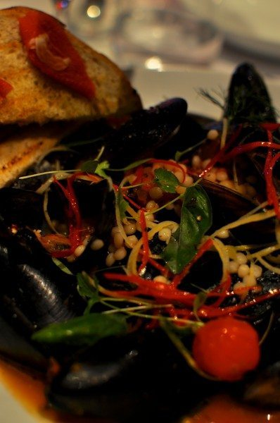 mussels with saffron, garlic, chilli and tomato with Israeli cous ...