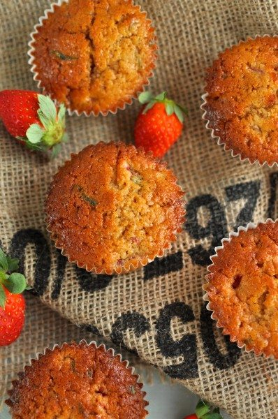 Strawberry and basil muffins via www.clairekcreations.com
