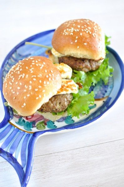 Lamb burgers with haloumi via www.clairekcreations.com