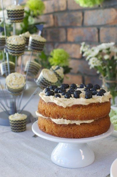 Lime and blueberry cake with coconut via www.clairekcreations.com