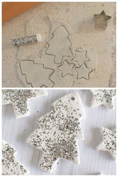 Glitter clay ornaments via www.clairekcreations.com