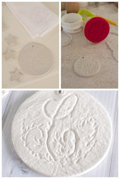 Imprinted clay ornaments via www.clairekcreations.com