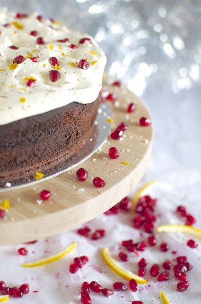 Choc orange Brazilian cake with pomegranates via www.clairekcreations.com
