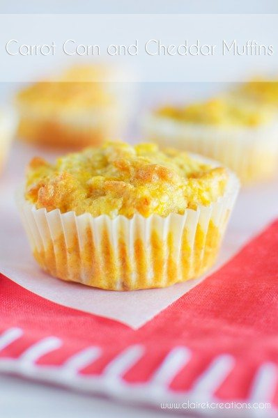 Carrot corn and cheddar muffins via www.clairekcreations.com