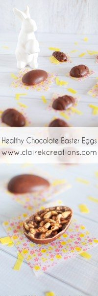 Healthy chocolate Easter eggs three ways via www.clairekcreations.com
