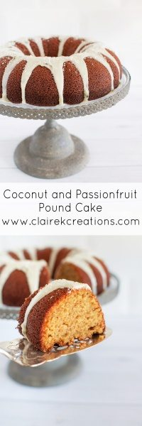 Coconut and passionfruit pound cake via www.clairekcreations.com