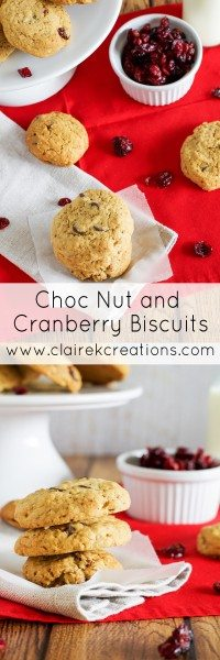 Choc nut and cranberry biscuits via www.clairekcreations.com