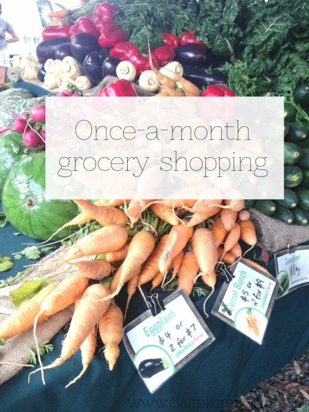 Once a month grocery shopping via www.clairekcreations.com