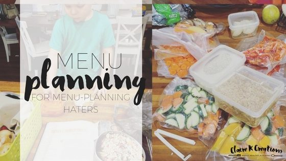 Meal planning for menu-planning haters via www.clairekcreations.com
