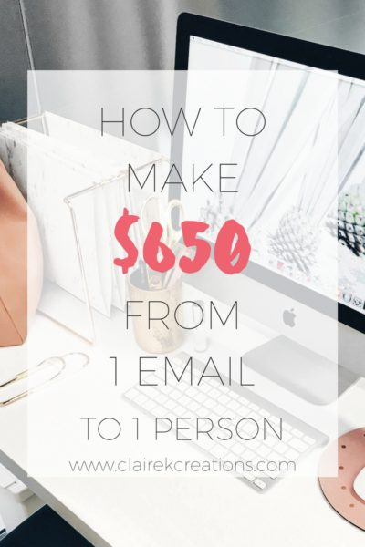 How to make $650 from one email to one person