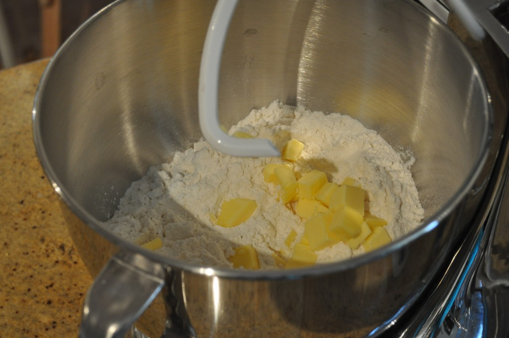 Flour and butter ready to be mixed for checkerboard hot cross buns