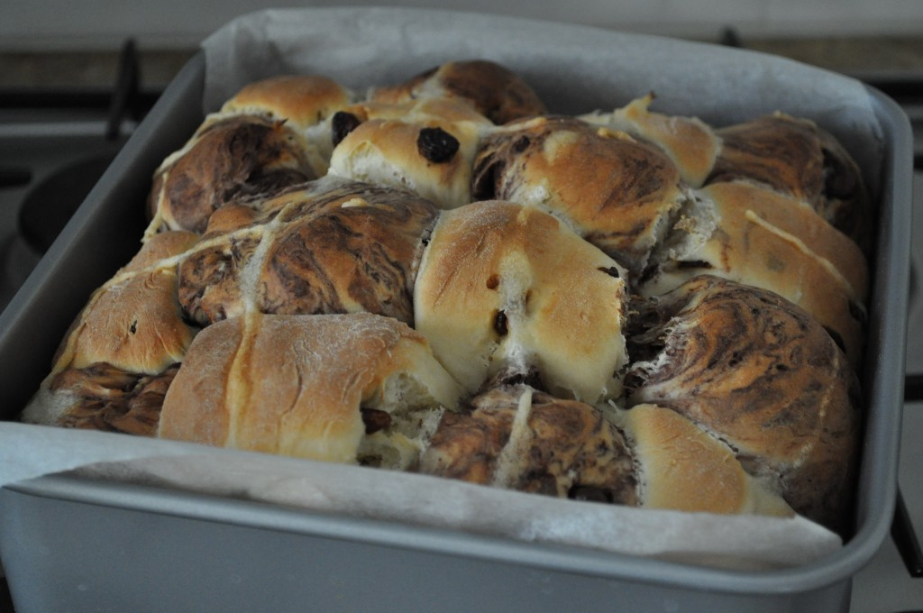 Baked and beautiful checkerboard hot cross buns