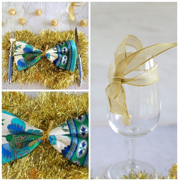 Gold and blue Christmas table via www.clairekcreations.com
