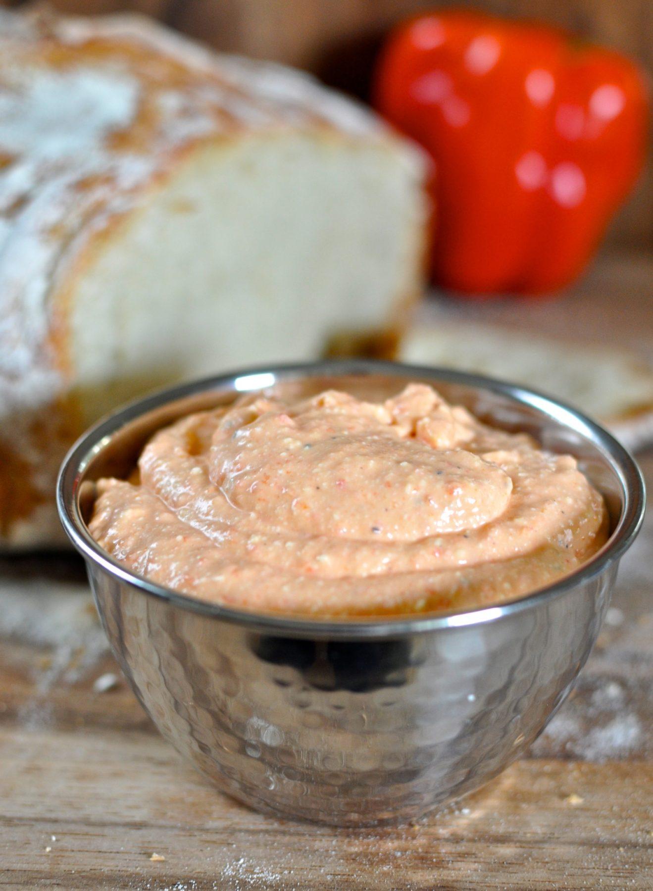 Roast capsicum and feta dip