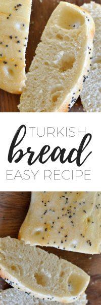 Homemade turkish bread sliced on a chopping board