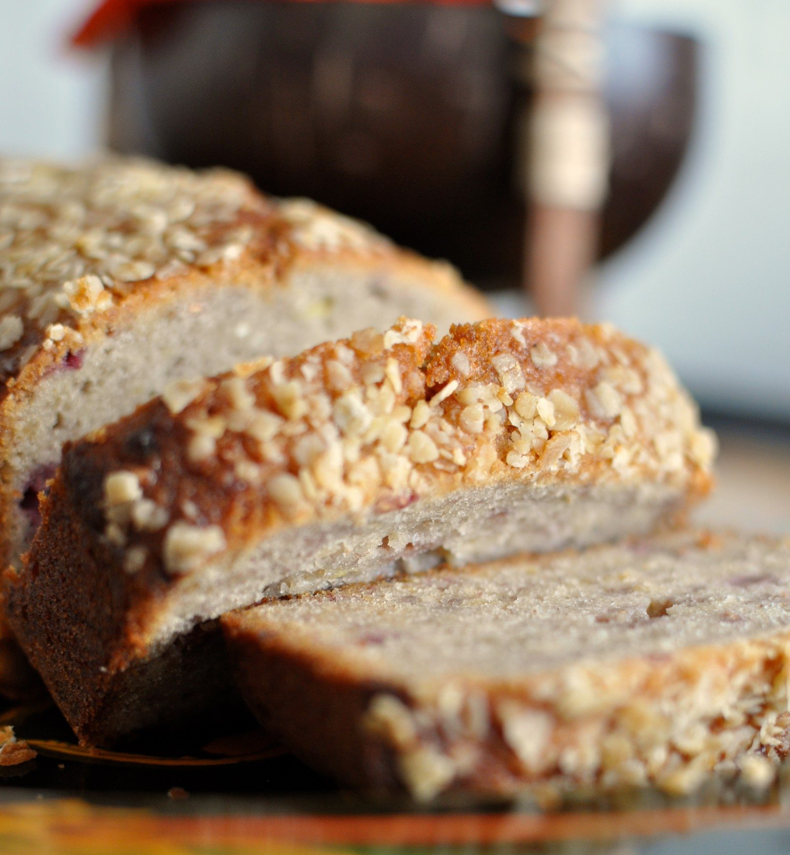 Raspberry and honey oat banana bread