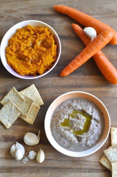 Zucchini & olive hommus & paleo carrot dip