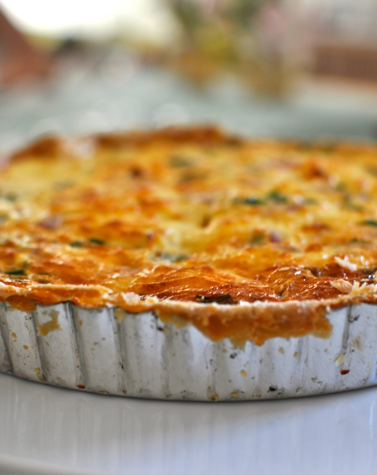 Ham cheese and chive quiche