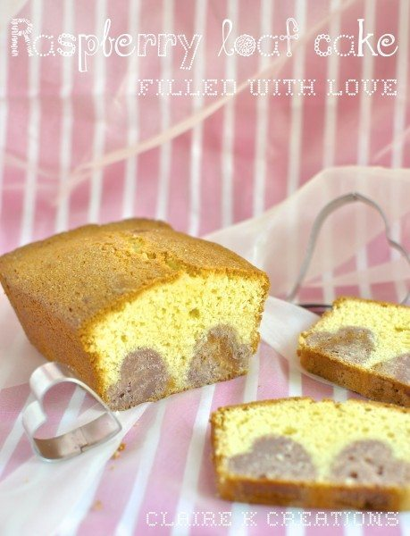 Raspberry loaf cake filled with love