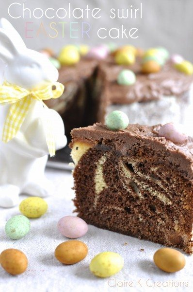 Chocolate swirl Easter cake via Claire K Creations www.clairekcreations.com