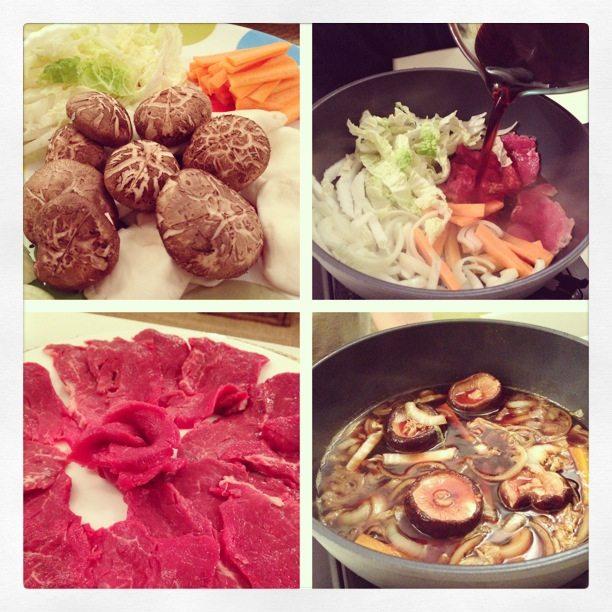 Homemade sukiyaki – Japanese beef hotpot