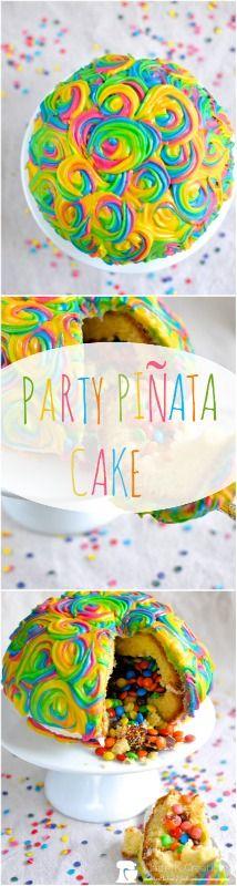 How to make a piñata cake via www.clairekcreations.com