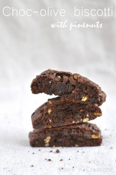Chocolate olive biscotti