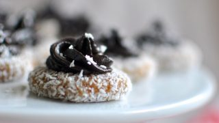 No-bake coconut macadamia biscuits with chocolate icing