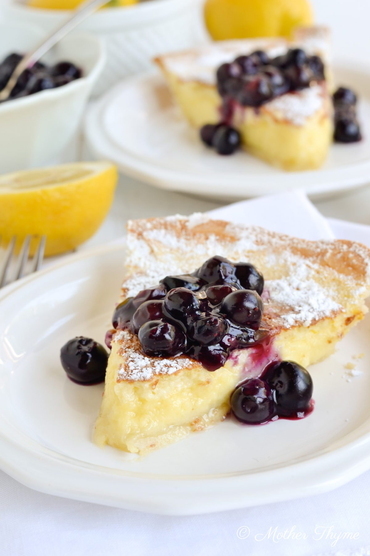 Lemon pie cake with blueberry compote – a guest post from Mother Thyme