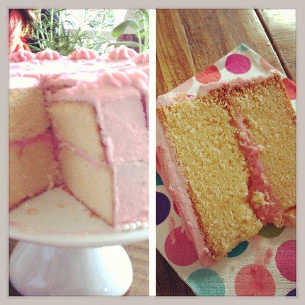 White chocolate mud cake with raspberry buttercream icing