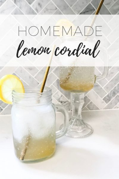 Homemade lemon cordial recipe made using fresh lemons.