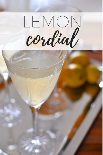 Homemade lemon cordial in a fancy crystal glass