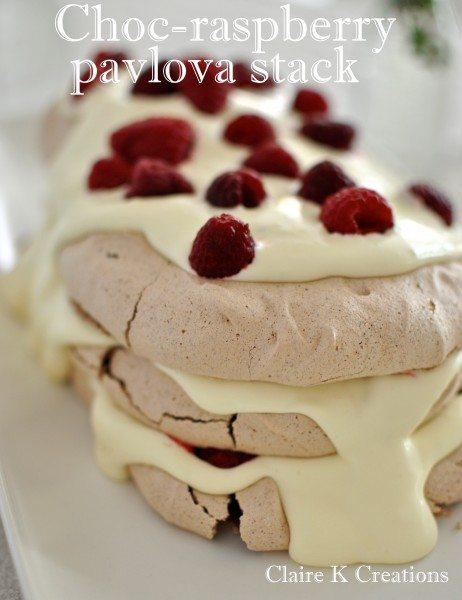 Choc-raspberry pavlova