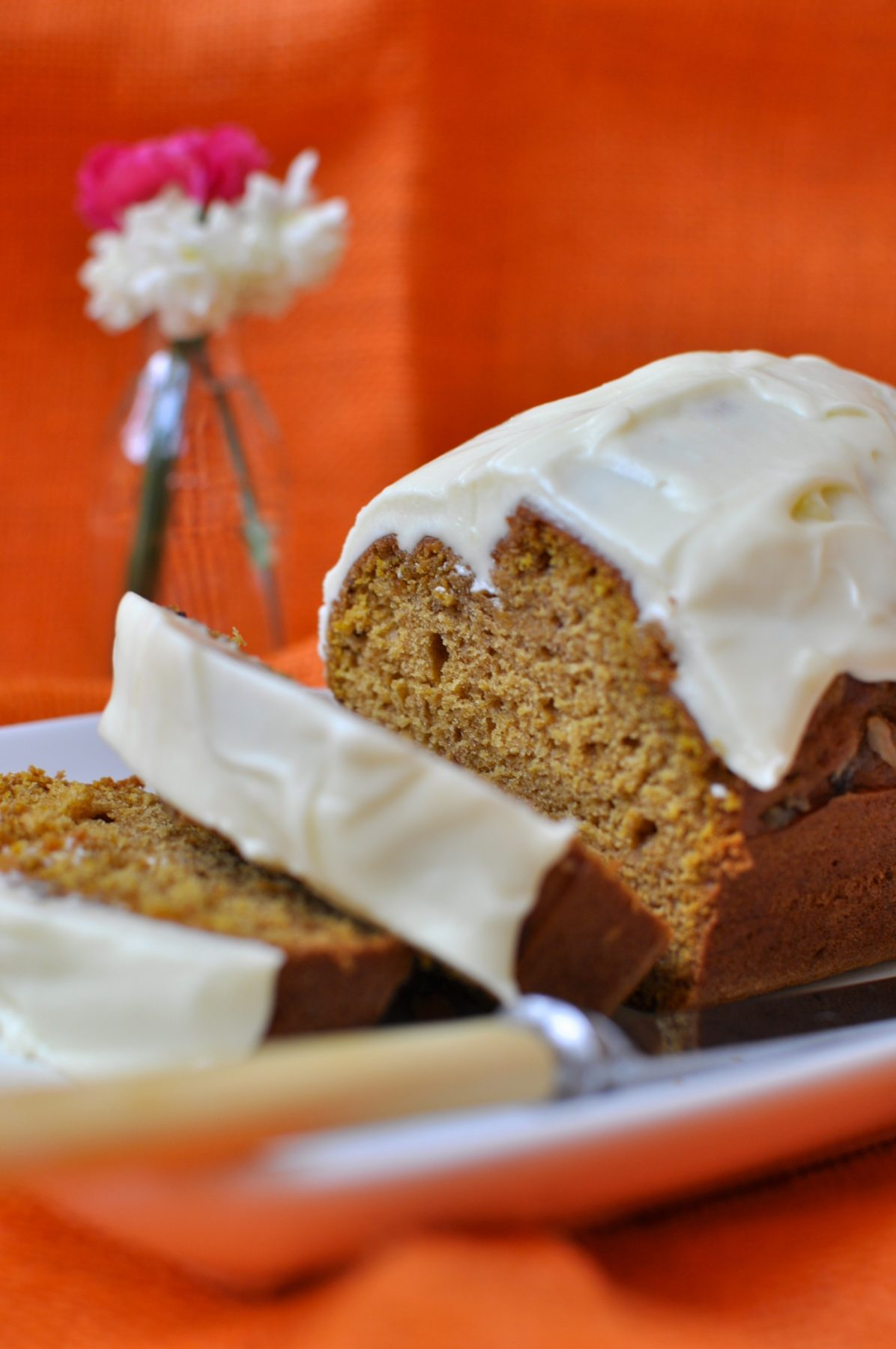 Harvest pumpkin bread with cream cheese icing