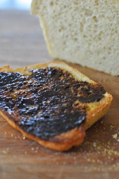 English muffin bread vegemite toast