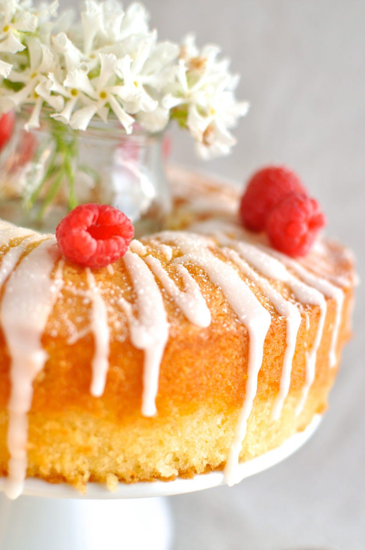 Vanilla almond cake with lemon drizzle