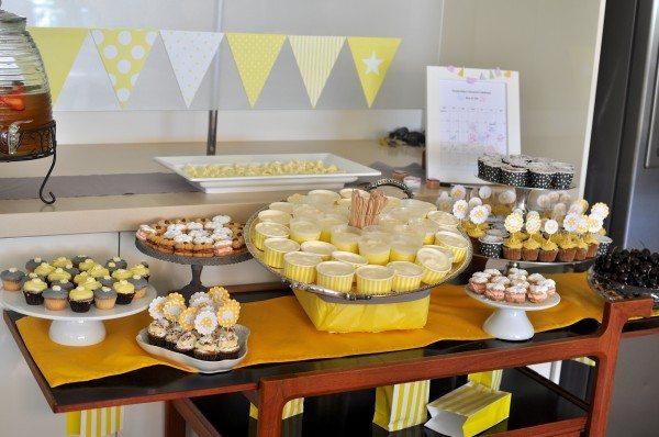 Grey and yellow themed dessert buffet