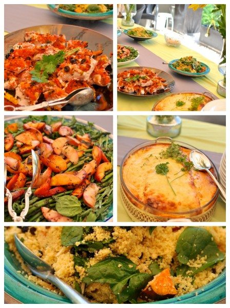 Savoury food buffet at my grey and yellow baby shower
