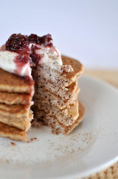 Almond and cinnamon paleo pancakes via www.clairekcreations.com