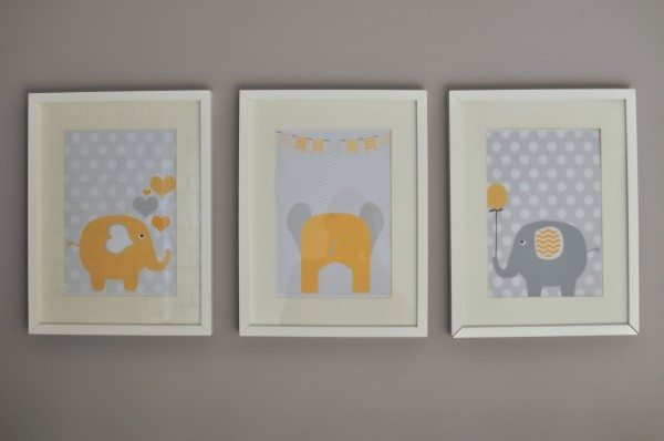 The grey and yellow nursery artwork