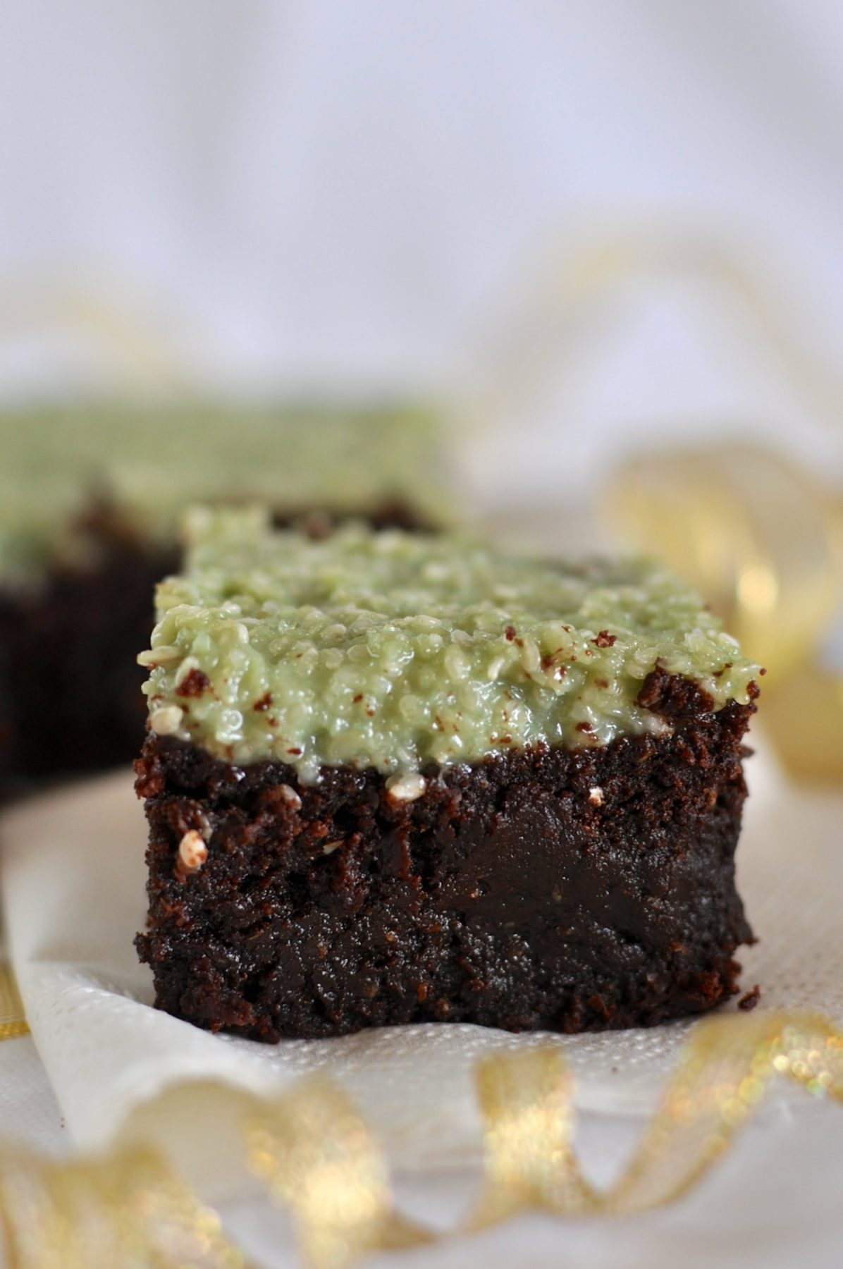 Healthy choc peppermint brownies