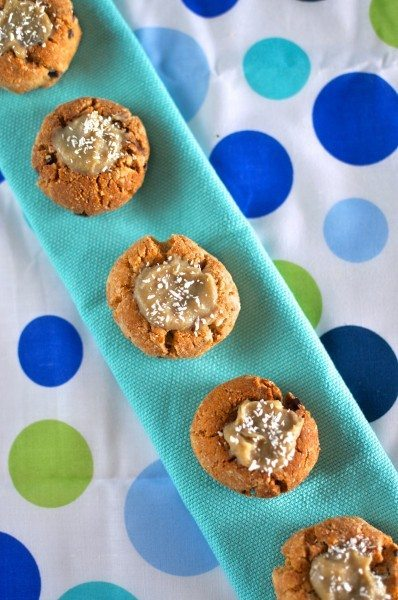 Paleo almond and dulce de leche thumbprints