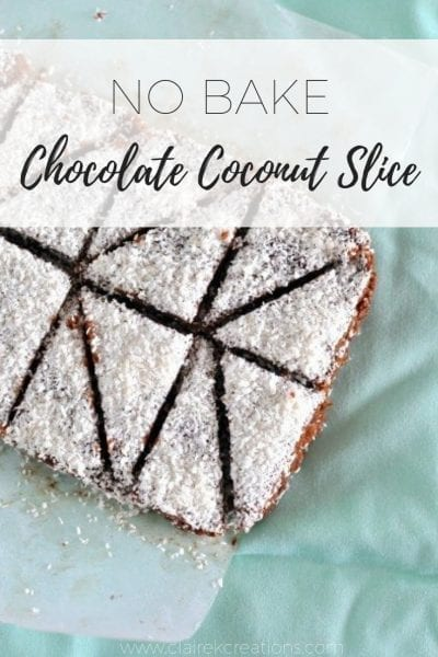 No bake chocolate coconut slice topped with shredded coconut - a much easier, healthier version of chocolate slice perfect for non-bakers