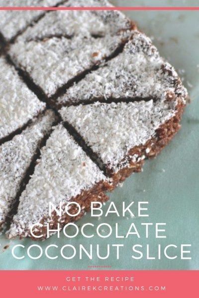 No bake chocolate coconut slice